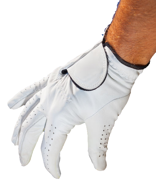 golf glove on hand holding golf ball
