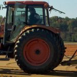 tractor on athletic field